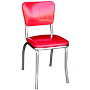 "Cracked Ice Red Retro Chrome Kitchen Chair with 1"" Pulled Seat"