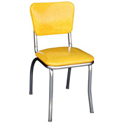 "Cracked Ice Yellow Retro Chrome Kitchen Chair with 1"" Pulled Seat"