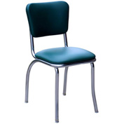 """Green Retro Chrome Kitchen Chair with 1"""" Pulled Seat"""