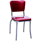 "Glitter Sparkle Red Retro Chrome Kitchen Chair with 1"" Pulled Seat"