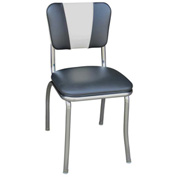 """Black and White V-Back Chrome Diner Chair with 1"""" Pulled Seat"""