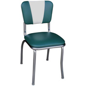 "Green and White V-Back Chrome Diner Chair with 1"" Pulled Seat"