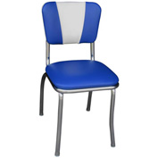 "Royal Blue and White V-Back Chrome Diner Chair with 1"" Pulled Seat"