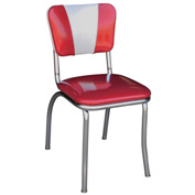 "Glitter Sparkle Red and Glitter Silver Retro V-Back Diner Chair with 1"" Pulled Seat"