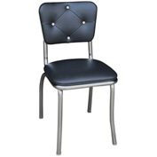 "Black Button Tufted Retro Kitchen Chair with 1"" Pulled Seat"