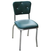 "Green Button Tufted Retro Kitchen Chair with 1"" Pulled Seat"