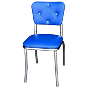 "Royal Blue Button Tufted Retro Kitchen Chair with 1"" Pulled Seat"