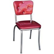 "Glittery Sparkle Red Button Tufted Retro Kitchen Chair with 1"" Pulled Seat"
