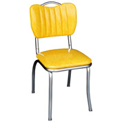 "Cracked Ice Yellow Handle Back Retro Kitchen Chair with Single Tone Channel Back and 1"" Pulled Seat"