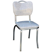 "Handle Back Chrome Diner Chair in Cracked Ice Grey with 1"" Pulled Seat"