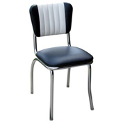 "Two Tone Channel Back Retro Diner Chair in Black and White with 1"" Pulled Seat"