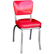 "Cracked Ice Red Retro Chrome Kitchen Chair with 2"" Box Seat"