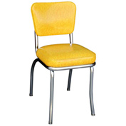 "Cracked Ice Yellow Retro Chrome Kitchen Chair with 2"" Box Seat"