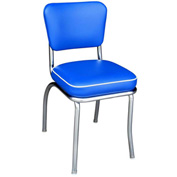 "Retro 1950's Diner Chair Royal Blue with 2"" Box Seat"