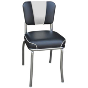 "Black and White V-Back Chrome Diner Chair with 2"" Waterfall Seat"