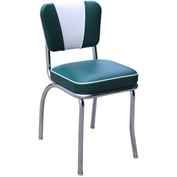 "Green and White V-Back Chrome Diner Chair with 2"" Box Seat"