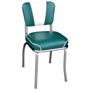 "Green and White V-Back Chrome Diner Chair with 2"" Waterfall Seat"