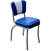 "Royal Blue and White V-Back Chrome Diner Chair with 2"" Box Seat"