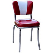 "Glitter Sparkle Red and Glitter Silver Retro V-Back Diner Chair with 2"" Box Seat"