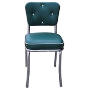 "Chrome Diner Chair with Button Tufted Back and Green 2"" Box Seat"