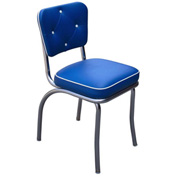 "Chrome Diner Chair with Button Tufted Back and Royal Blue 2"" Box Seat"
