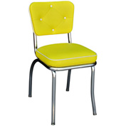 "Chrome Diner Chair with Button Tufted Back and Yellow 2"" Box Seat"