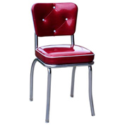"Glittery Sparkle Red Button Tufted Retro Kitchen Chair and 2"" Box Seat"