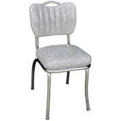 "Cracked Ice Grey Handle Back Retro Kitchen Chair with Single Tone Channel Back and 2"" Box Seat"