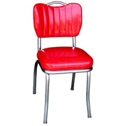 "Cracked Ice Red Handle Back Retro Kitchen Chair with Single Tone Channel Back and 2"" Box Seat"