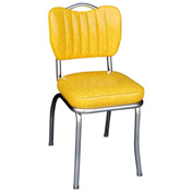 "Cracked Ice Yellow Handle Back Retro Kitchen Chair with Single Tone Channel Back and 2"" Box Seat"