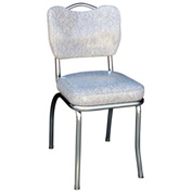 "Handle Back Chrome Diner Chair in Cracked Ice Grey with 2"" Box Seat"