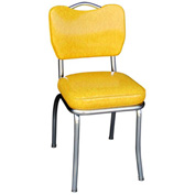 "Handle Back Chrome Diner Chair in Cracked Ice Yellow with 2"" Box Seat"