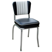 "Two Tone Channel Back Retro Diner Chair in Black and White with 2"" Box Seat"