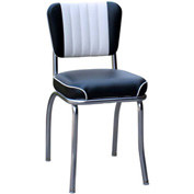 "Two Tone Channel Back Retro Diner Chair in Black and White with 2"" Waterfall Seat"