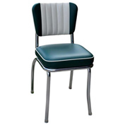 "Two Tone Channel Back Retro Diner Chair in Green and White with 2"" Box Seat"