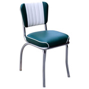 "Two Tone Channel Back Retro Diner Chair in Green and White with 2"" Waterfall Seat"