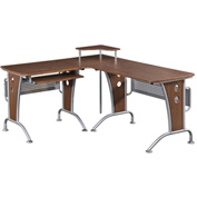 "Techni Mobili L-shaped Computer Desk, 67""W x 57""D x 33""H, Mahogany"