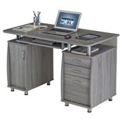 Techni Mobili Complete Workstation Computer Desk with Storage - Gray