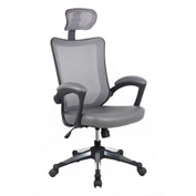Techni Mobili Mesh Executive Office Chair with Headrest - High Back - Gray