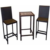 AZ Patio Indoor/Outdoor Resin Wicker 3 Piece Bistro Set, Chocolate