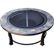 "Hiland Fire Pit YFP-51216 Wood Burning 40"" Round Slate"