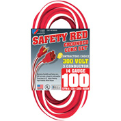 U.S. Wire 58100 100 Ft. Contractor's Choice Grounded Red&White Extension Cord, 14/3 Ga SJTW-A, 300V