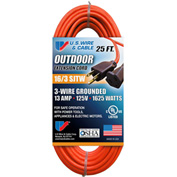 U.S. Wire 60025 25 Ft. Three Conductor Orange Extension Cord, 16/3 Ga. SJTW-A, 300V, 13A