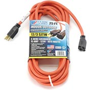 U.S. Wire 65025 25 Ft. Three Conductor Extension Orange Cord, 12/3 Ga. SJTW-A, 15A
