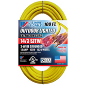 U.S. Wire 73100 100 Ft. Three Conductor Yellow Temp-Flex Lighted Plug Cord, 14/3 Ga., 300V, 13A