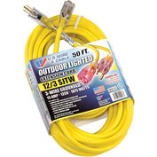 U.S. Wire 74050 50 Ft. Power-On Cord W/Indicator Light, 12/3