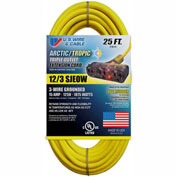 U.S. Wire 89025 25 Ft. Yellow Artic/Tropic Cord W/Pow-R Block, 12/3 Ga. SJEOW-A, 300V, 15A