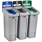 Rubbermaid Slim Jim Recycling Station, Landfill/Mixed Recycling/Compost, (3) 23 Gallon - 2007918