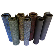 "Rubber-Cal ""Elephant Bark"" Rubber Flooring Rolls, 5mm THK x 4'W x 7'L, Green Dot"