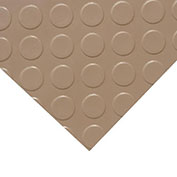 "Rubber-Cal ""Coin-Grip (Metallic)"" PVC Flooring, Beige, 2.5mm THK x 4'W x 9'L"